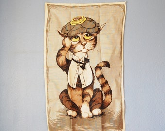 1960s Linen Cat Towel Dunmoy Hangover Ice Bag Retro Bar Wall Hanging Large