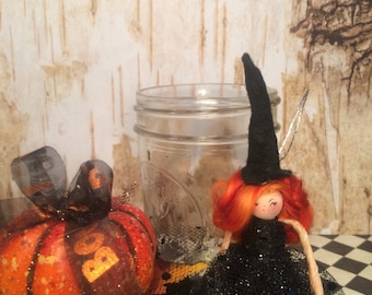 Witch ornament witch doll pumpkin mason jar centerpiece halloween party favor orange and black hostess gift vintage retro inspired ooak art