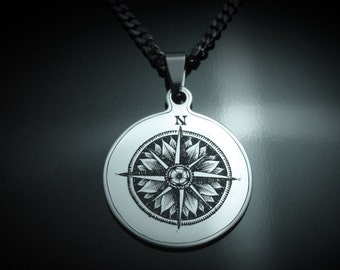 Hand Engraved Compass Rose In Stainless Steel Necklace