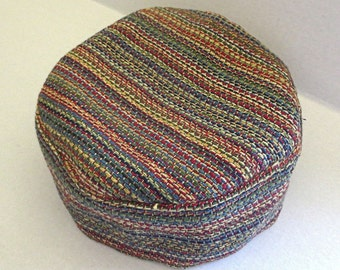 Tapestry Bucharian kippah gorgeous many colors small stripes yarmulke --- great gift for him