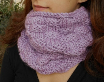 Lilac Cowl Scarf Snood bulky warm thick knit cowl neck warmer chunky woman women tube scarf purple cowl mauve scarf pale plum pastel orchid
