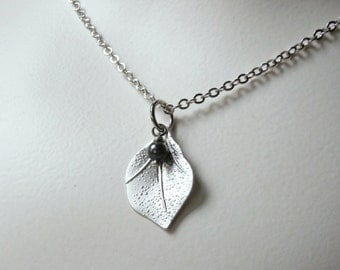 Silver leaf charm necklace, silver and grey black pearl necklace, romantic flower charm pendant crystal pearl, gift for her, bridal wedding