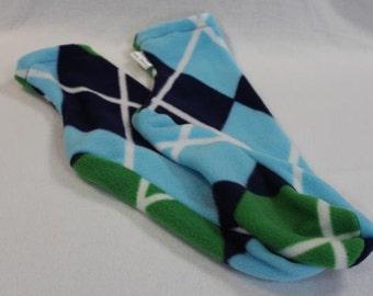 Women's Polar Fleece Socks or Slipper Socks Blue Green Argyle Choose Size