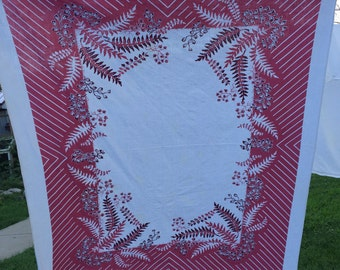 Vintage Plum or Maroon and White Stripes and Floral Print Tablecloth