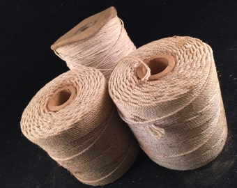 3 Vintage Spools of Antique White Ivory String Twine Thread
