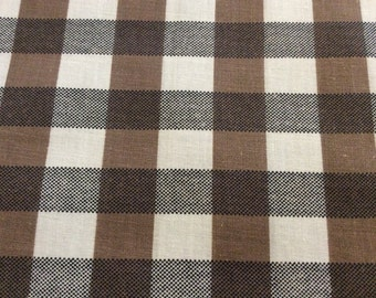 3 1/2 Yards of Vintage Brown and White Large Check Cotton Fabric