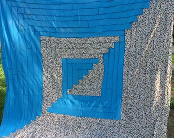 Vintage Machine Pieced Turquoise and Blue and Red Floral Rectangles Center or Split Center Pattern Quilt Top