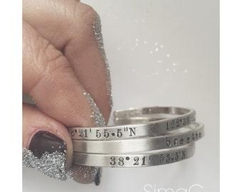 Personalized Quote Bracelet. Inspirational bracelet. Stacking bracelets.  Custom hand stamped secret message cuff bracelet --Custom  SimaG