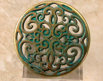 Round Filigree Pendant, Antique Brass & Green Patina, AB165