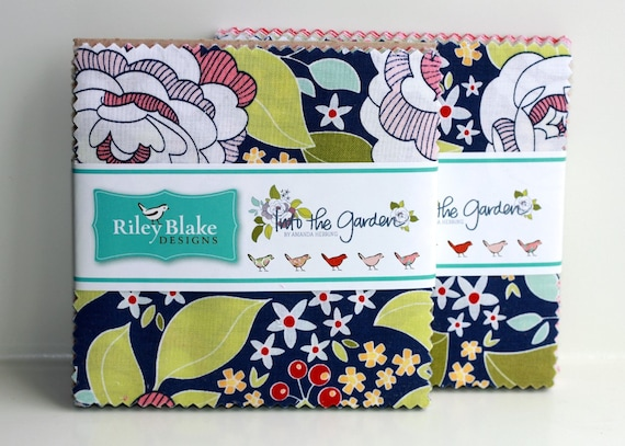 SALE 2 Packs 5 inch charm fabric squares INTO the GARDEN by Riley Blake from Amanda Herring