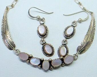 Tribal Southwestern Vintage Navajo Necklace,Dangle Earrings,Sterling Cuff Bracelet,Pink MOP,Delicate,Feather Detail,3 Piece Set Sale