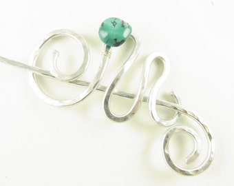 Silver Shawl Pin/Brooch/Clasp/Slide O'Keefe Spiral & Squiggle w/Turquoise
