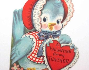 Vintage Unused Children's Novelty Valentine Greeting Card with Cute Blue Bird in Bonnet