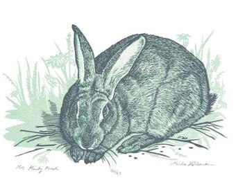 Bunny Woodland Nursery Art - Boys - Woodland Art - Blue