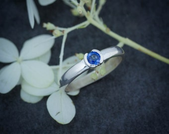Blue Sapphire and Sterling Silver Half Bezel Set Engagement Ring, Low Profile  Half Moon Bezel, READY to SHIP Size 7