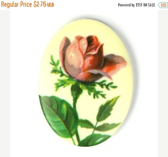 Shop Closing Sale Vintage Floral Cabochon Plastic Decal Red Rose 40x30mm (1) VIC219