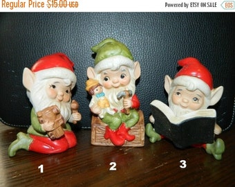 Sale Christmas Elves, Pixie, Gnomes, Elf, Toy Shop Elves, Homco Christmas 1970's Trio, Santa's Christmas Elves, X-Mas Holiday