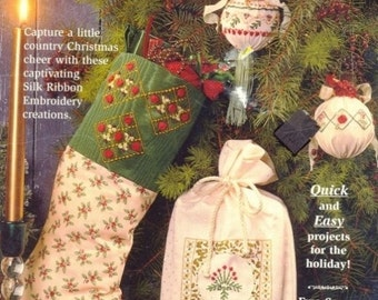 Sale 1995 Christmas Stocking Pattern Booklet, Bucilla Pattern, Ribbon Embroidery, Country Christmas Cheer, Quick and Easy projects