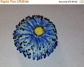 ON SALE Vintage 1960's Costume Jewelry Brooch Blue Yellow Floral Pin, Flower Power, Baby blue retro 60's Jeweler collectible fashion design