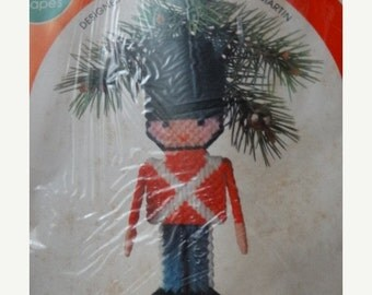 HUGE SALE 1981 Leisure Arts Canvas Capers Dick Martin Toy Soldier Ornament #404 UNUSED, Drummer Boy, Nutcracker, Yarn, Holiday Decoration