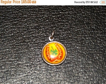 Rare Reverse Painted Charm, Lucky Horseshoe, Four Leaf Clover charm for Charm Bracelet, Mid Century Modern Jewelry Fashion, Valentine's Day