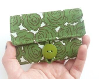 rose card case. womens card holder. green fabric business card pouch. cotton teacher teen girl gift