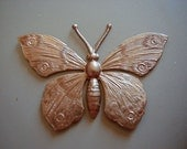 Vintage Brass Butterfly, 1950s Ornate Copper Tone Stamping, Unused Miriam Haskell Stock, Unplated Jewelry Finding, 52x34mm, 1 pc. (Cbin)
