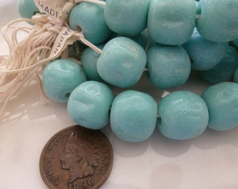 12 Vintage 12mm - 14mm Gorgeous Opaque Turquoise Dimpled Baroque Japan Beads C42