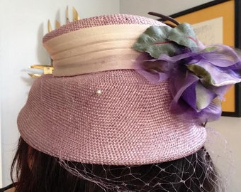 Vintage Spring Purple/Lavender Hat with Flower and Netting