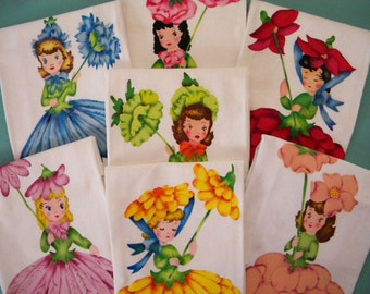7 Vintage Dish Towels with Printed Flower Girls Unused Anthropomorphic 1940's
