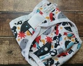 Two Step Cloth Diaper Cover Playing Pirates