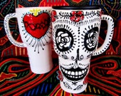Frida Kahlo Skull and Sacred Heart 16 oz Travel Mug Handpainted Ceramic Original Design for Day of the Dead and Beyond