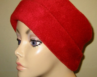 Red Anti Pill Fleece Pillbox Hat, Winter Hat, Cancer, Chemo Hat, Warm Hat