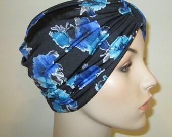 Blue Flowers Print Stretch Turban, Chemo Hat, Snood,  Alopecia Yoga Cancer