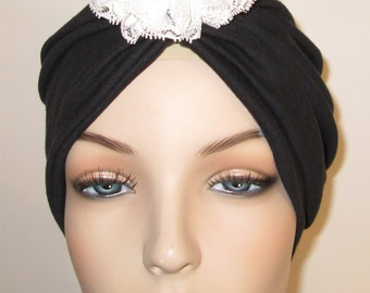 Black  Knit Turban with Detachable Lace Flower, Chemo Hat, Snood, Womens Hat Cancer Hat, Alopecia Fashion Turban