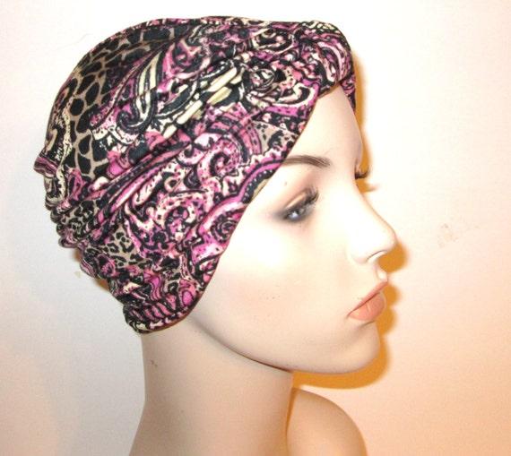 Pink Burgundy Black Paisley   Stretch Turban, Chemo Hat, Cancer Turban, Womens Hat