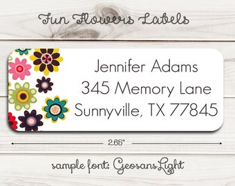 Fun Flowers Return Address Labels