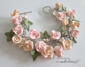 Bridal Rose Bracelet - Handmade Polymer Clay Rose Bracelet, Wedding Rose Bracelet, Pastel Rose Bridal Jewelry, Shabby Chic Bracelet