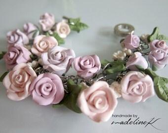 Wedding Rose Garden Bracelet, Handmade Polymer Clay Rose Bracelet, Soft Purple Rose Bracelet, Purple Wedding Jewelry, Shabby Chic Jewelry