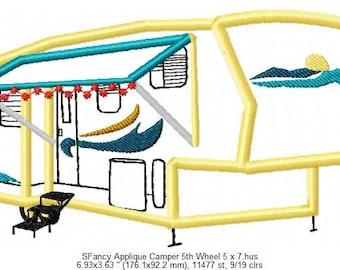 SFancy Applique Camper 5th Wheel 5 x 7