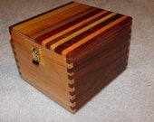 Large Extended Recipe Box for 4x6 cards - Maple and Walnut