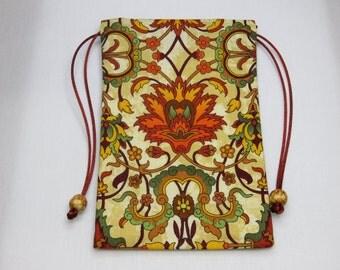 Floral Silk lined Tarot Pouch, Tarot Bag, Handmade