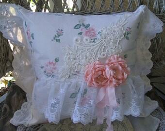 Handmade Victorian Doily Pillow~Boudoir Decor~Ribbon Rose~Decor Pillow~White, Pink,Gift Item~Home Decor Pillow~Wedding Gift~Original