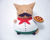 Italian cat pincushion, Cute Italian guy, Felt cat, Italian with pizza pie, Cat gifts, Italian decoration, Italian gifts, Mustache cat, MTO