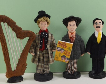 Marx Brothers-  Doll Set-  Miniature Art- Old Hollywood Comedy- Chico Harpo Groucho