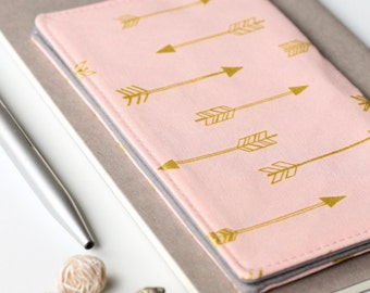 Blush Pink Checkbook Cover, Gold Arrow Fabric Check Book Holder, Gift for Her