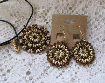 Bronze Necklace and Earring Set #23