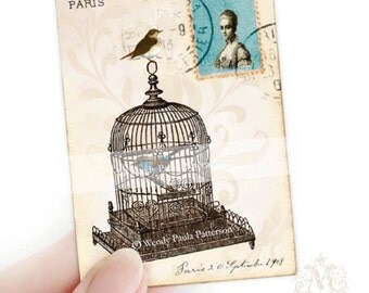 Vintage birdcage, Aceo, artist trading card, collectible art, print, French postcard, Paris 1908, Marie Antoinette, vintage bird cage