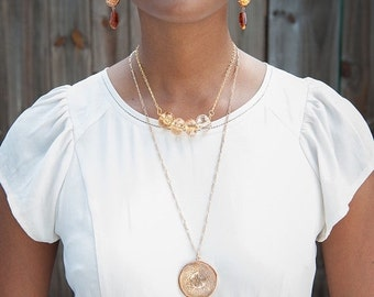 ON SALE Copper and Gold Medallion Necklace