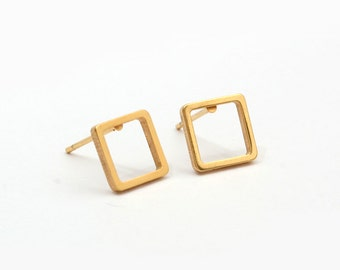 Golden Square Geometric Earring Post Finding (EH014B)